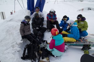 Cold, eating luch on the glacier, trying to get out of the wind