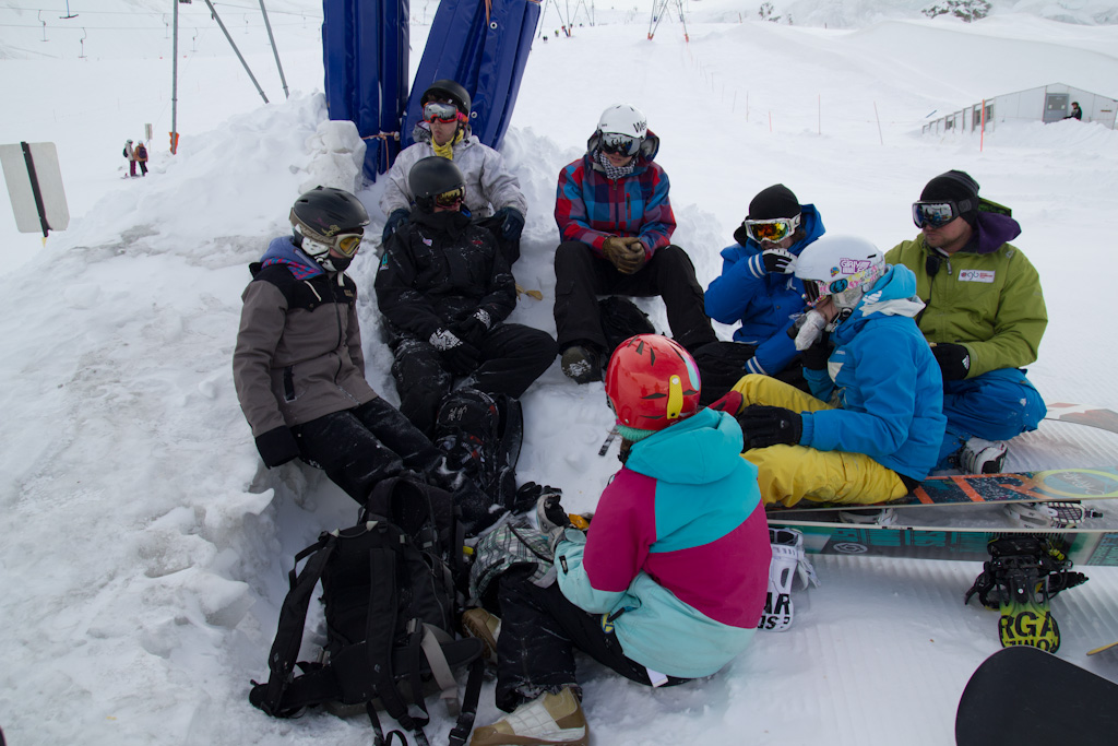 Cold, eating lunch on the glacier, trying to get out of the wind